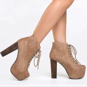 Jeffrey Campbell Lita Bootie in Taupe suede